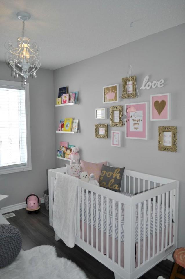 Babyzimmer Grau Rosa Weiß Bilderwand Goldene Akzente In 2019 von Babyzimmer Weiß Grau Bild