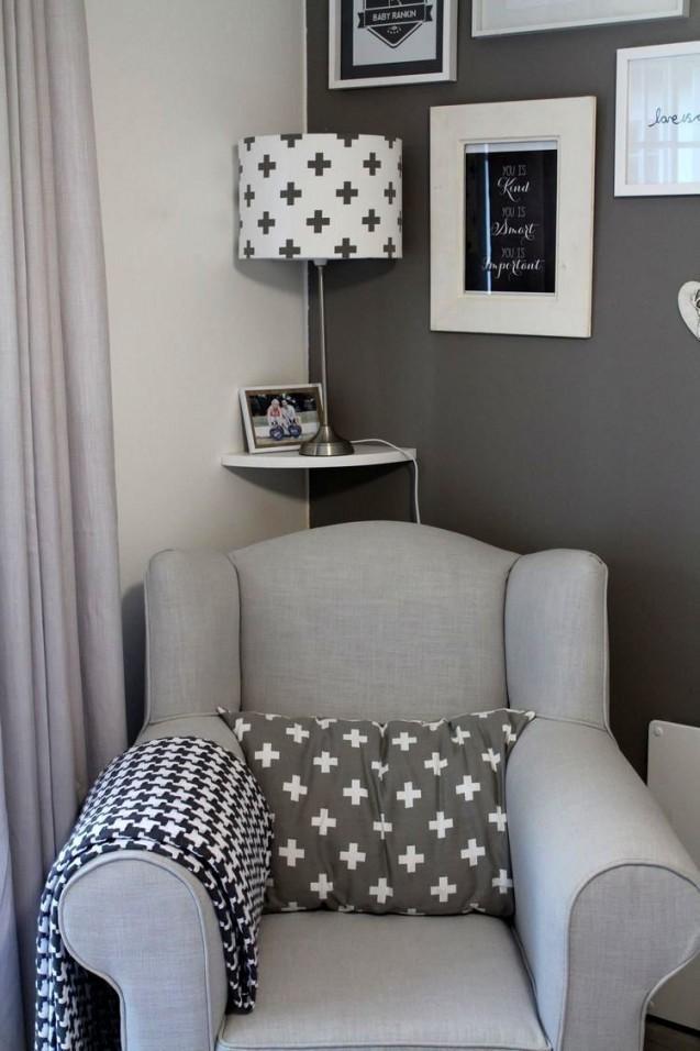 Babyzimmer Grau Weiß Sessel Kissen Lampe Wandbilder von Babyzimmer Grau Weiß Photo