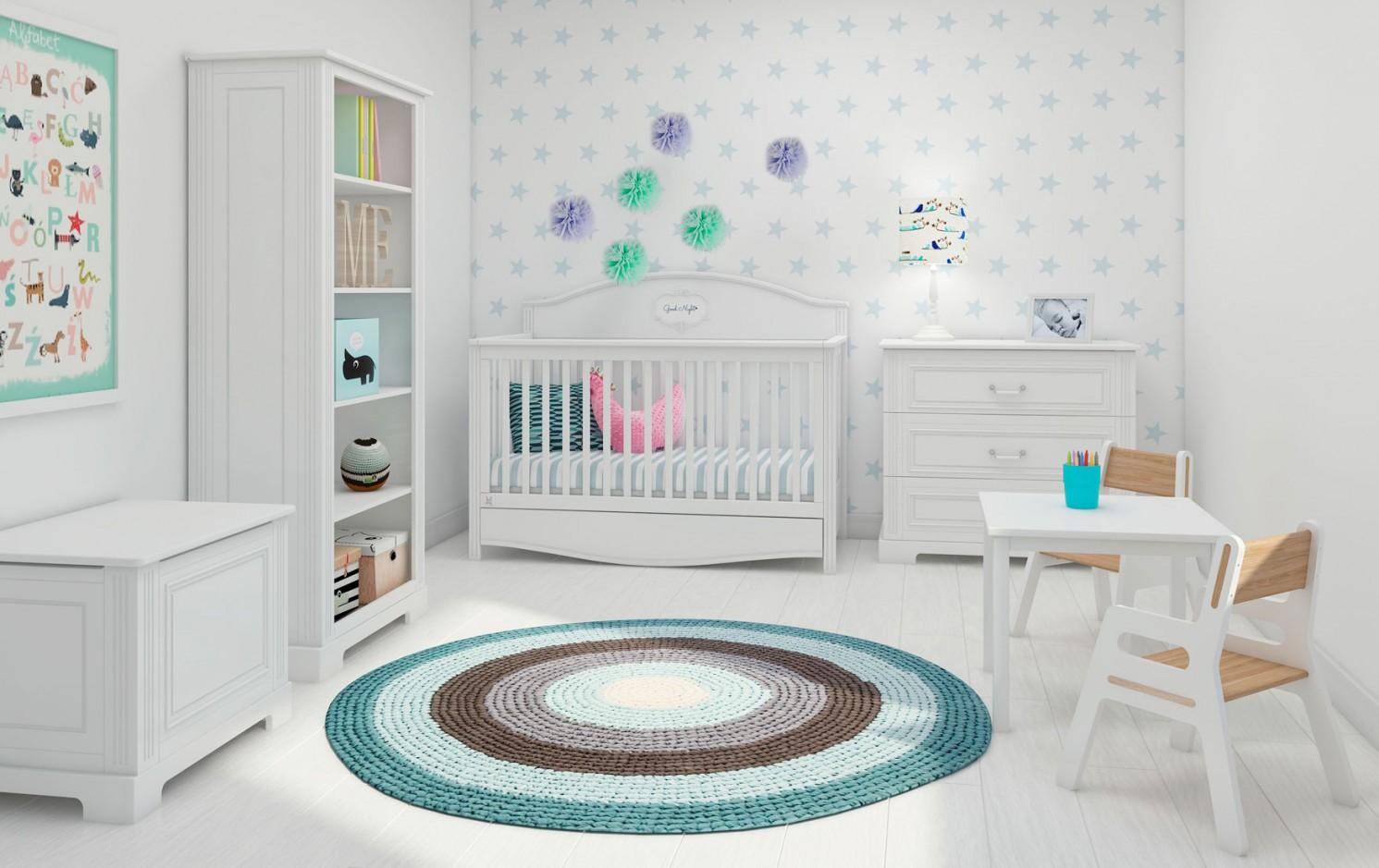 """Babyzimmer """"Gute Nacht""""  Mit Babybett 140 X 70  Weiß von Babyzimmer Komplett Mit Matratze Photo"""