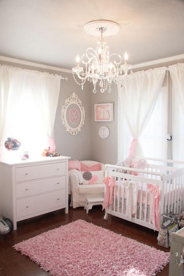 Babyzimmer In Grau Und Rosa Gestalten  Entzückende Ideen von Babyzimmer Mädchen Einrichten Bild