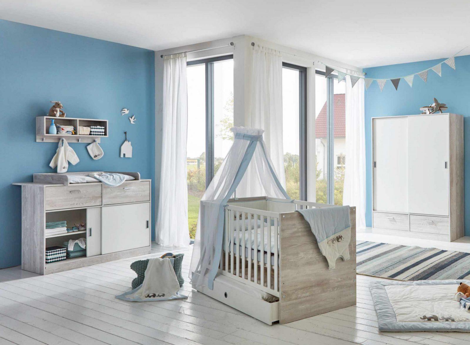 Babyzimmer Kinderzimmer Pinie Grau Weiß 4Tlg von Babyzimmer Weiß Grau Bild