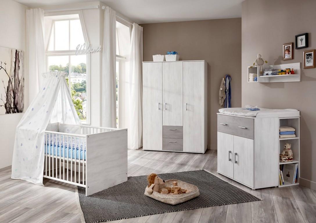 Babyzimmer Kinderzimmer Weiß Steingrau 4Tlg von Babyzimmer Weiß Grau Photo