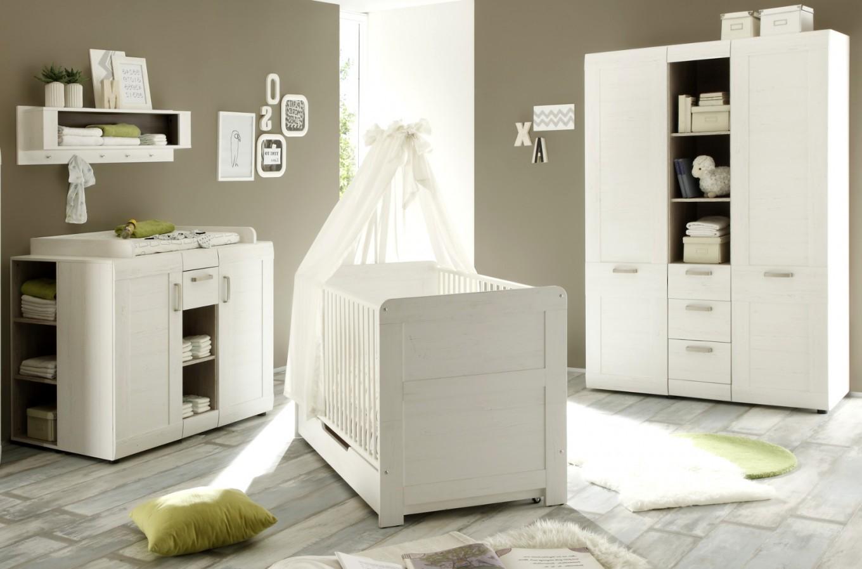 Babyzimmer Komplett Set Landi Weiss Pinie 6Teilig Inkl Bettschubkasten  Und 2X Regal von Babyzimmer Weiß Hochglanz Bild