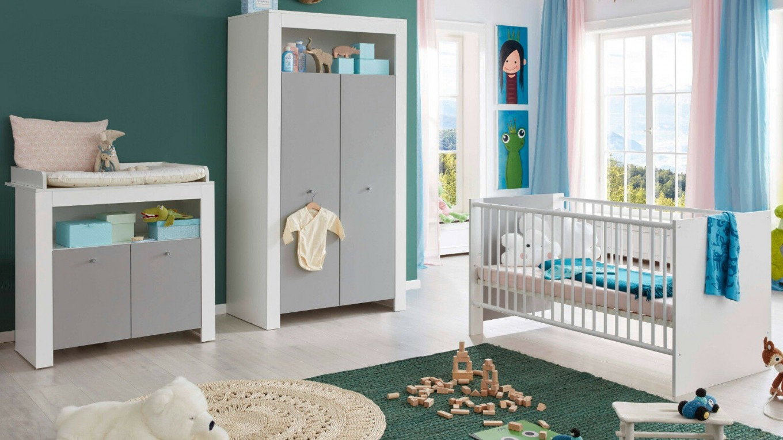 Babyzimmer Komplett Set Weiß Grau Schrank Baby Bett von Babyzimmer Weiß Grau Photo