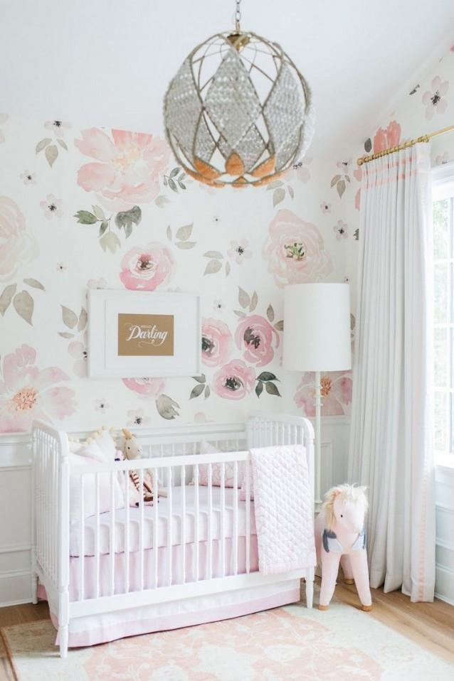 Babyzimmer Mit Rosentapete Gestalten In 2019  Kinder Zimmer von Babyzimmer Mädchen Einrichten Photo