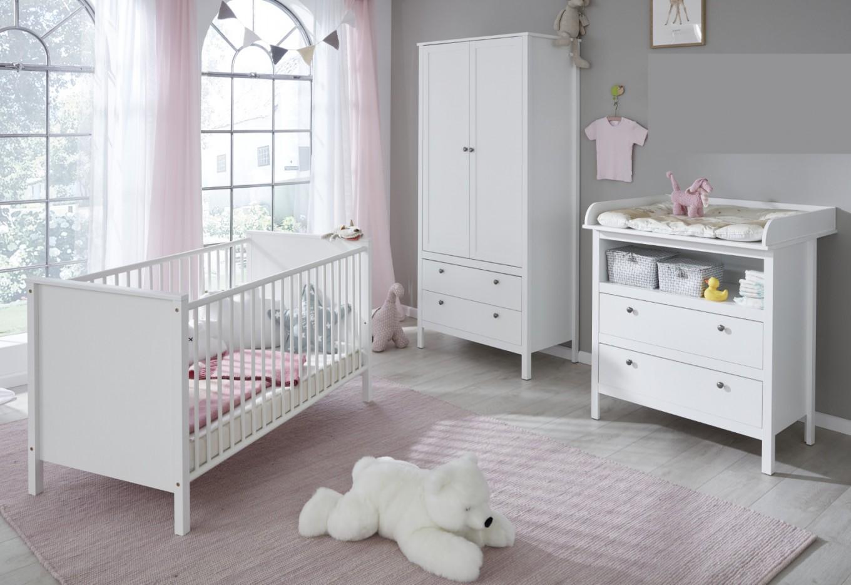Babyzimmer Ole Komplett Set 3Teilig Weiß Mit Wickelkommode Babybett Und  Kleiderschrank von Babyzimmer Set Weiß Photo