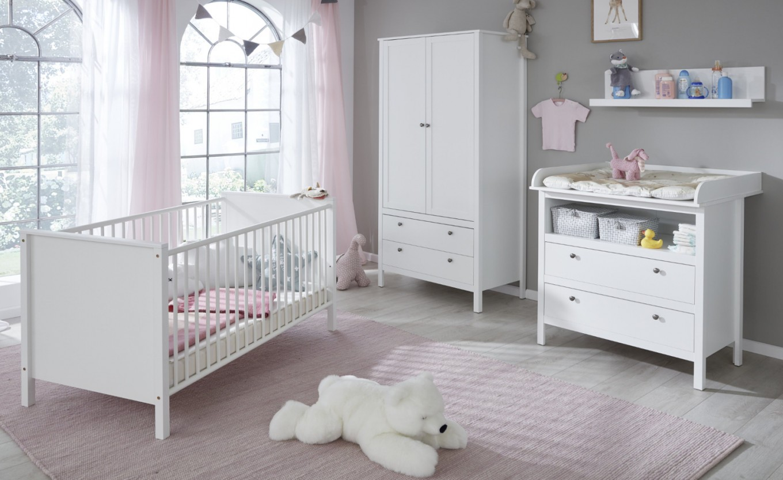 Babyzimmer Ole Komplett Set 4Teilig Weiß Mit Wickelkommode Babybett  Kleiderschrank Und Wandregal von Babyzimmer Komplett Set Grau Photo