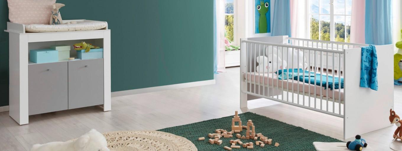 Babyzimmer Wilson Komplett Set 2Teilig Weiß Und Grau Mit Wickelkommode Und  Babybett von Babyzimmer Komplett Set Grau Bild