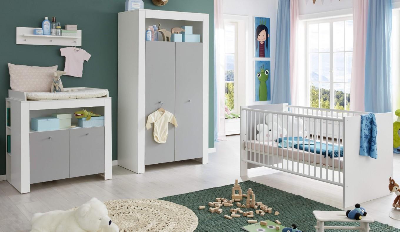 Babyzimmer Wilson Komplett Set 5Teilig Weiß Und Grau Mit Wickelkommode  Babybett Kleiderschrank Und 2 Regale von Babyzimmer Komplett Set Grau Photo