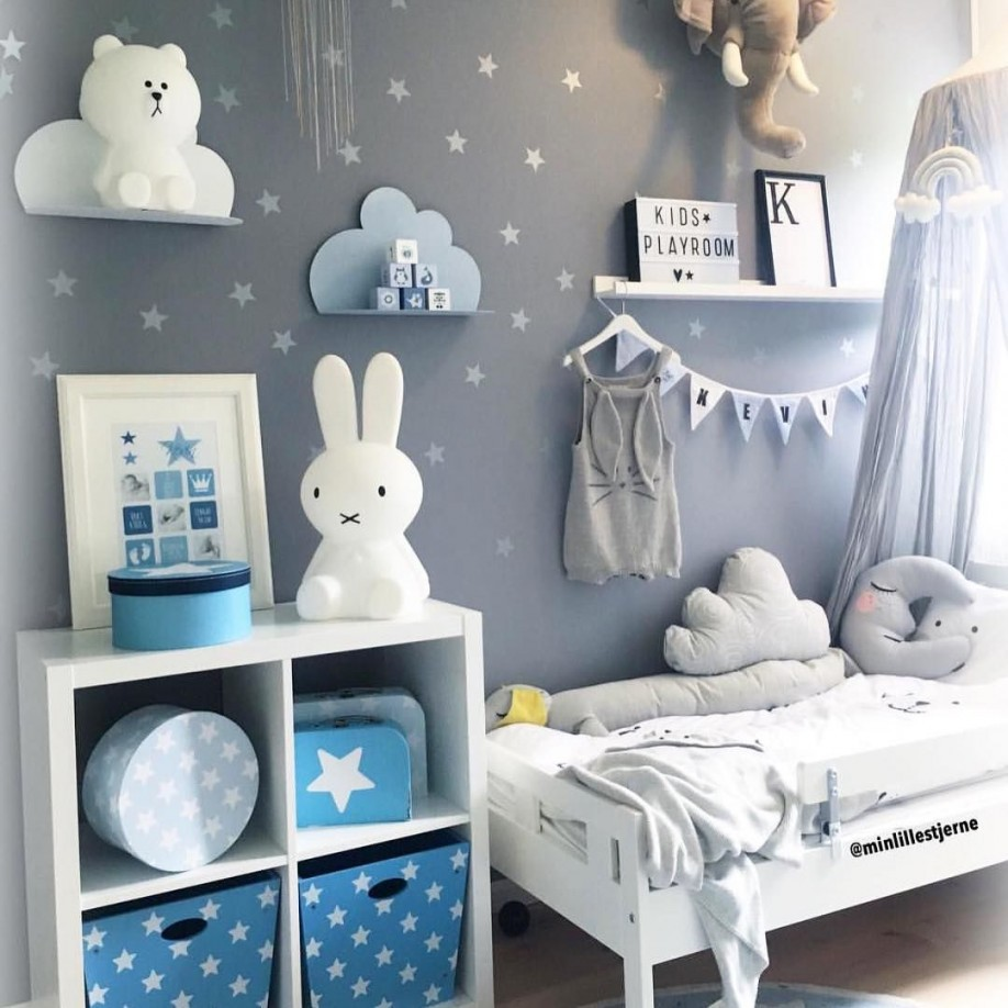 Blaues Jungenzimmer Mit Sternen Und Wolkenregalen In 2019 von Deckenlampe Babyzimmer Junge Photo
