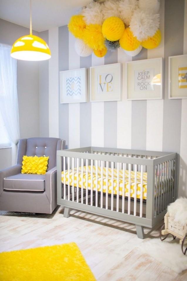 Gestaltung Der Wand Mit Streifen In 2019  Kinder Zimmer von Babyzimmer Wand Ideen Bild