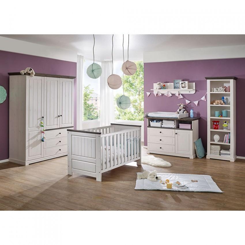 Kiefernholz Babyzimmer Zweifarbig  Rimesca (5Teilig) von Babyzimmer Weiß Grau Photo