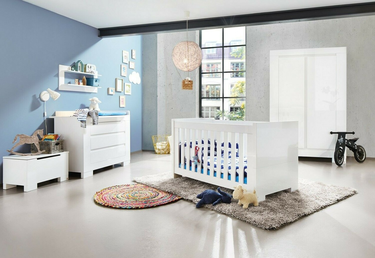 Kinderzimmer Babyzimmer Wickelkommode Kleiderschrank Komplettset Weiss  Hochglanz von Babyzimmer Weiß Hochglanz Bild