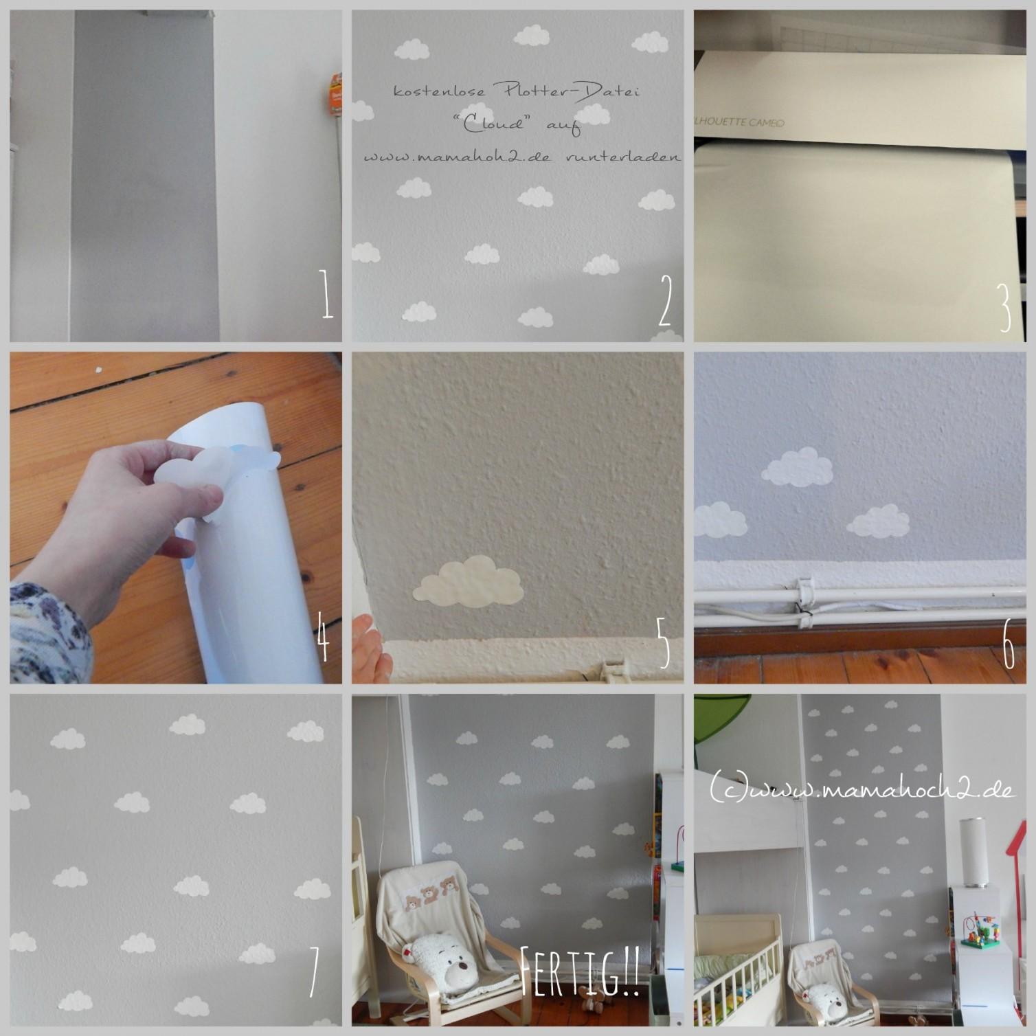 Kinderzimmer Ideen 1 Wolkenwand Tutorial  Plotterfreebie von Babyzimmer Wände Gestalten Ideen Bild