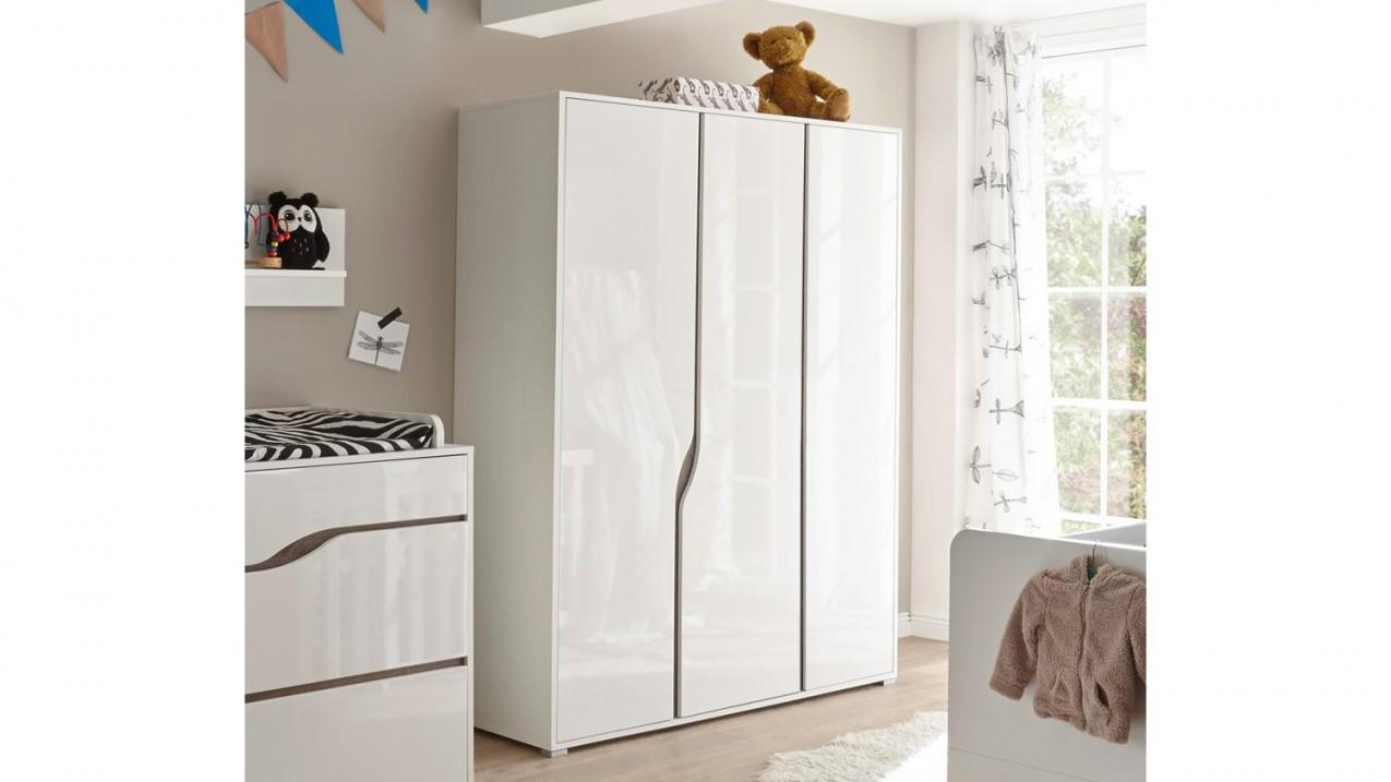 Kleiderschrank Babyzimmer Marra 3Trg Mdf Weiß Hochglanz von Babyzimmer Weiß Hochglanz Bild