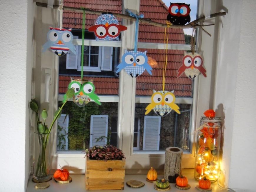 Kreatives Zum Nachmachen Eulenfenster von Herbst Dekoration Fenster Bild
