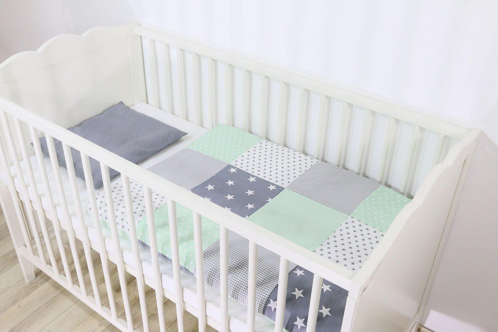 Patchwork Bettwäscheset 80X80 Cm Und Kissenbezug 35X40 Cm  Mint Grau   Babytextilien Online Kaufen  Ullenboombaby von Babyzimmer Grau Mint Photo