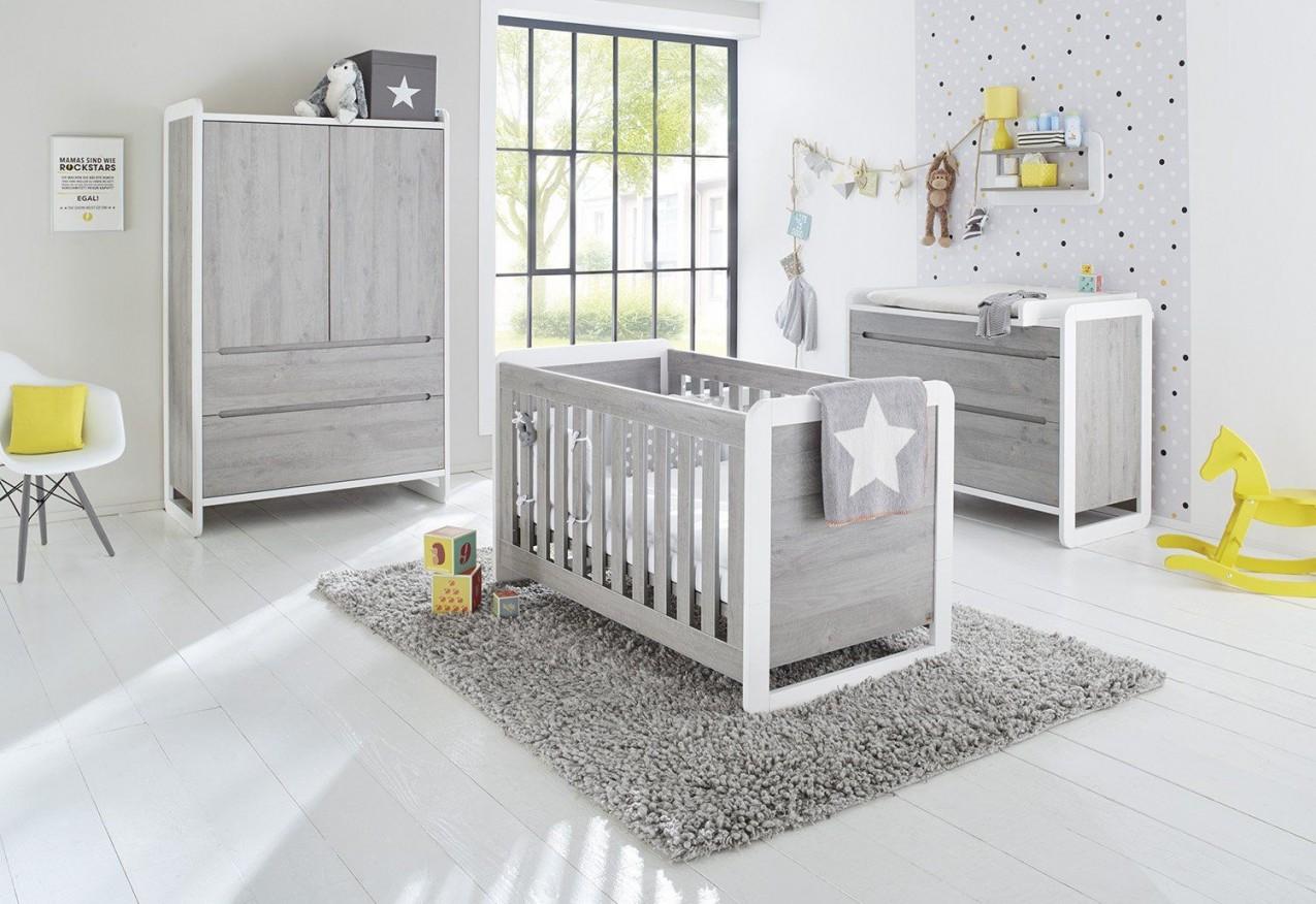 Pinolino  Komplettes Babyzimmer Set 3Teilig Kinderbett von Babyzimmer Weiß Grau Bild