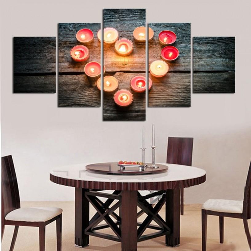 Romantische Bild Kerze Herz Form Leinwand Dekorieren Wohnzimmer Ehe Zimmer von Dekoration Wohnzimmer Wand Bild