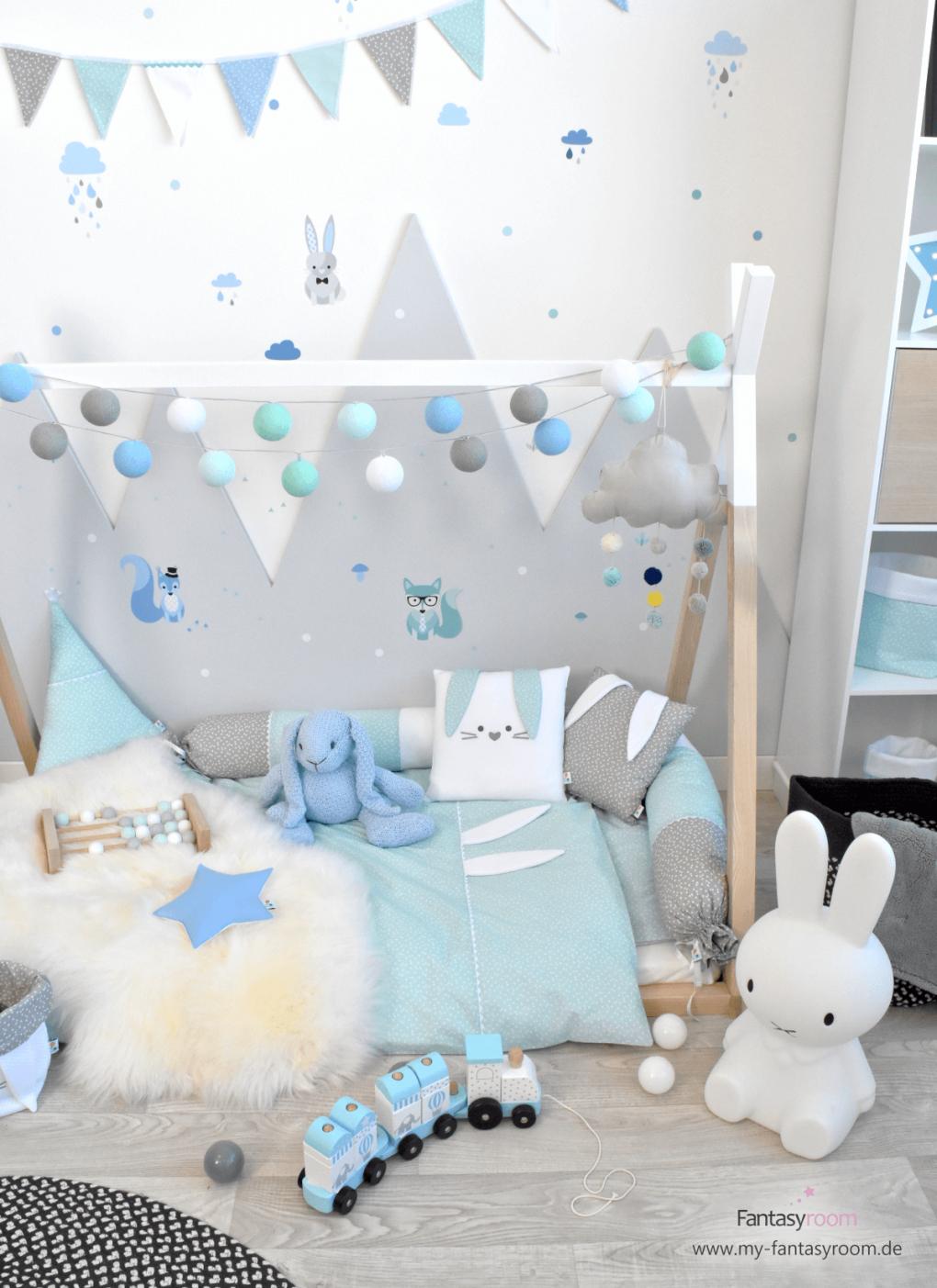 Waldtiere In Blau Mint  Grau Bei Fantasyroom Online Kaufen von Babyzimmer Deko Blau Bild
