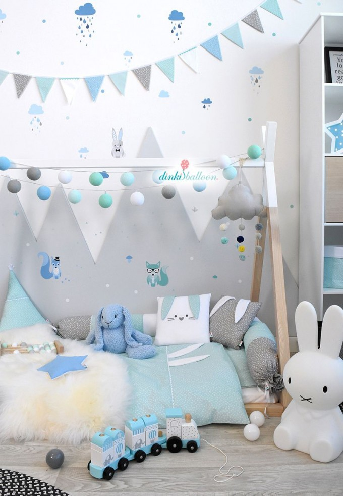 Waldtiere In Blau Mint  Grau Bei Fantasyroom Online Kaufen von Babyzimmer Deko Blau Photo