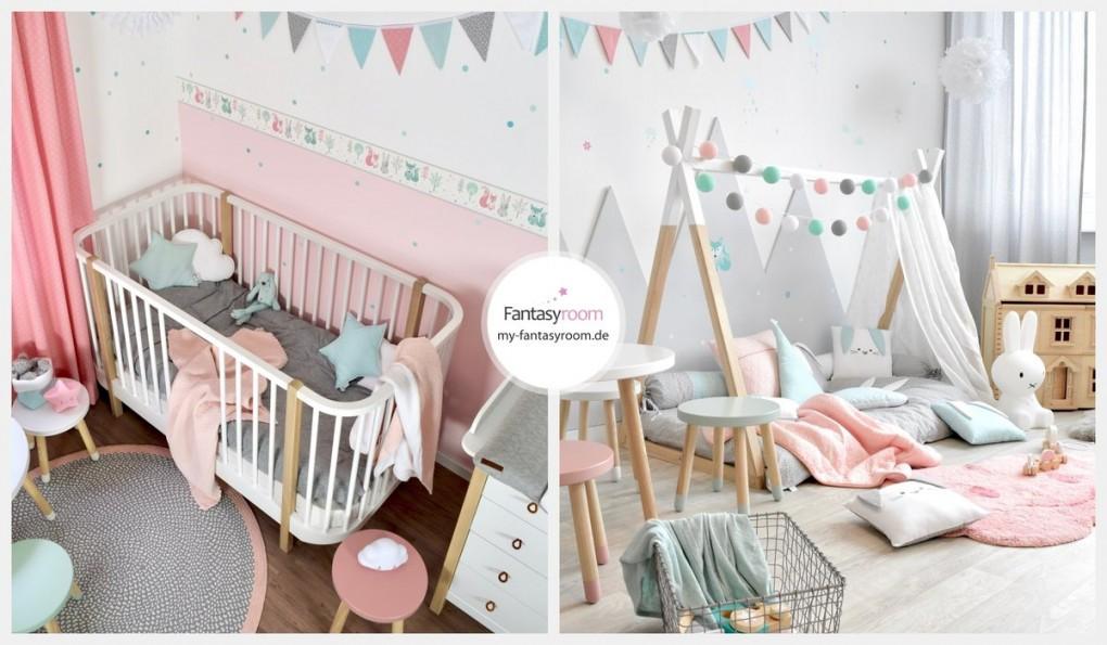 Waldtiere In Rosa Mint  Grau Bei Fantasyroom Online Kaufen von Babyzimmer Grau Mint Bild