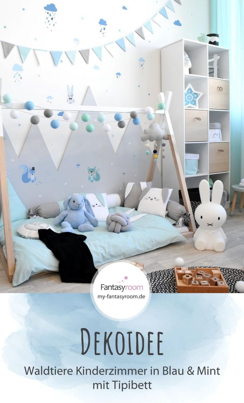 Waldtiere Zimmer In Blau  Mint Bei Fantasyroom Online von Babyzimmer Deko Blau Photo