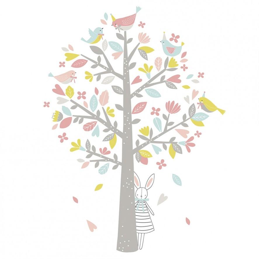 Wandsticker 'frühlingsbaum' Graupastell Für Mädchen 115Cm von Wandsticker Babyzimmer Mädchen Photo