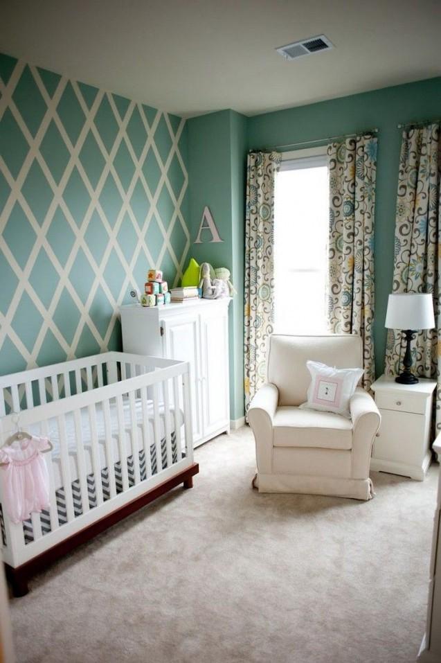 Wandstreichenmusterideenbabyzimmerpastellgruene von Babyzimmer Wand Ideen Photo