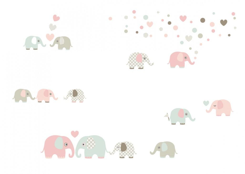 """Wandtattoos """"Elefanten"""" Taupemintnude von Wandsticker Babyzimmer Mädchen Bild"""