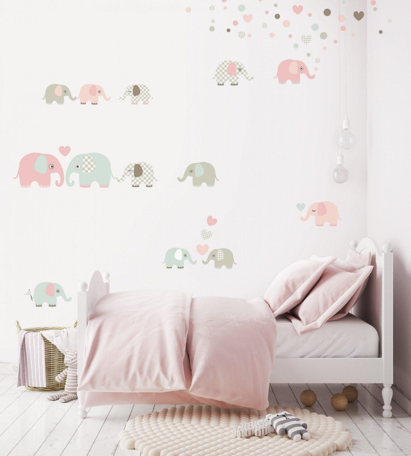 """Wandtattoos """"Elefanten"""" Taupemintnude von Wandtattoo Babyzimmer Mädchen Photo"""