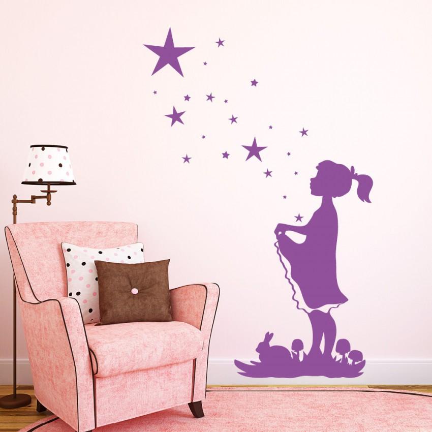 Wunschtext Wandsticker Mond Sterne Set Wandtattoos von Wandsticker Babyzimmer Mädchen Photo