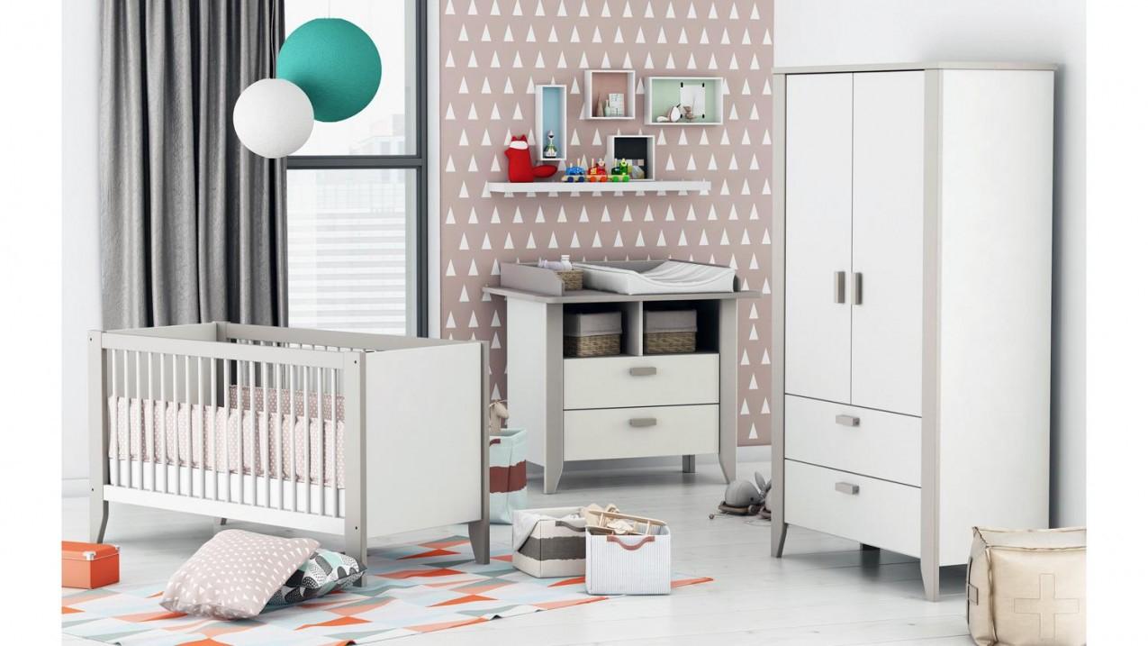 Babyzimmer Noar Kinderzimmer Komplett Set In Weiß Taupe Grau von Babyzimmer Grau Weiß Photo
