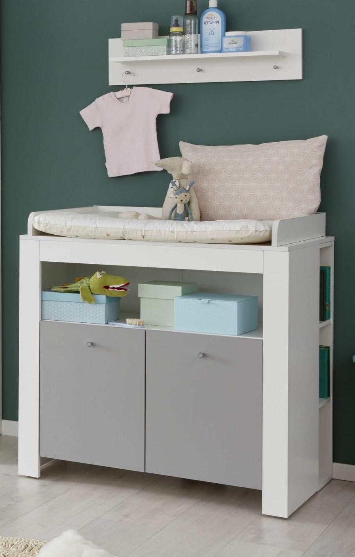 Babyzimmer Wickelkommode Wilson In Weiß Und Grau Wickeltisch 96 X 103 Cm von Babyzimmer Grau Weiß Bild